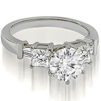 1.80 cttw. 14K White Gold Round Princess Baguette Diamond Engagement Ring