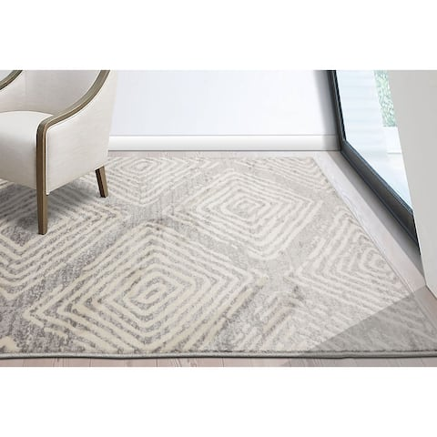 LoomBloom Persian Polypropylene Diamond Modern & Contemporary Oriental Area Rug Gray, Beige Color