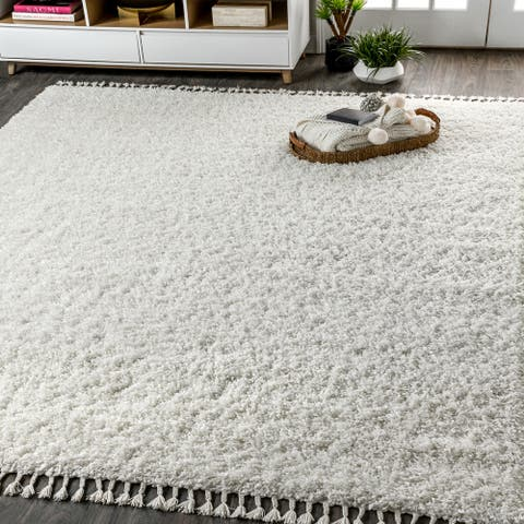Mercer Shag Plush Tassel White Area Rug