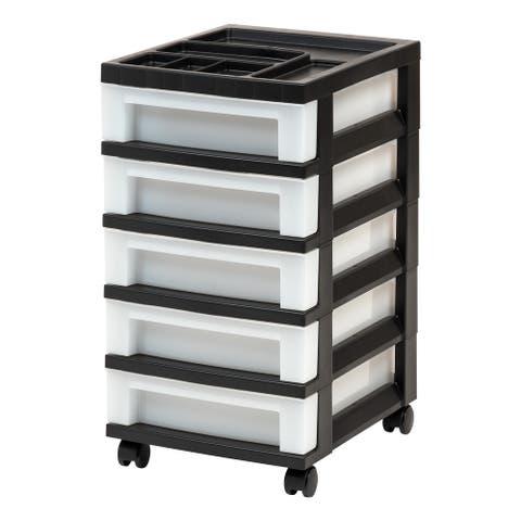 5-Drawer Storage Cart Black/Pearl