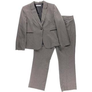 Tahari ASL Womens Plus Al Houndstooth Faux Trim Pant Suit - 18