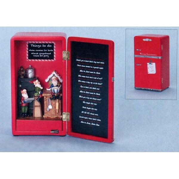 """7"""" Amusements LED Lighted Musical Fridge Full of Elves Christmas Figure - RED"""