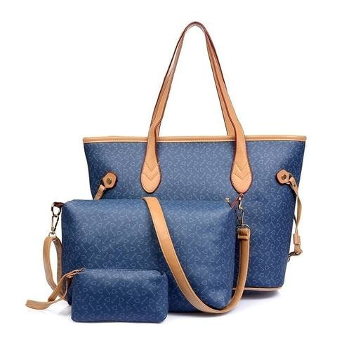 Nice Three-Piece Classic Tote Bag Set Faux Leather Design
