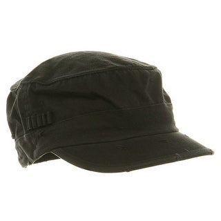Washed Cotton Fitted Army Cap-Black W32S34E, L/XL - XL