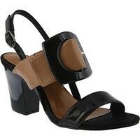 Azura Women's Laska Slingback Sandal Black Synthetic Leather