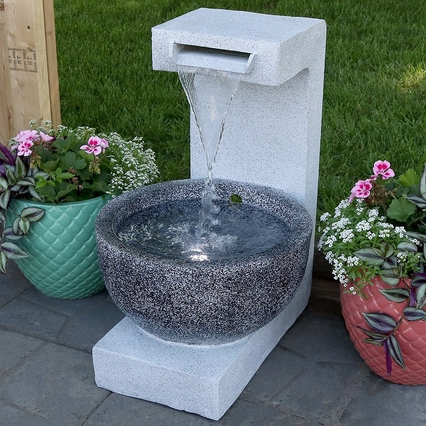 Sunnydaze Monterno Flowing Falls Outdoor Water Fountain 25 Inch Tall