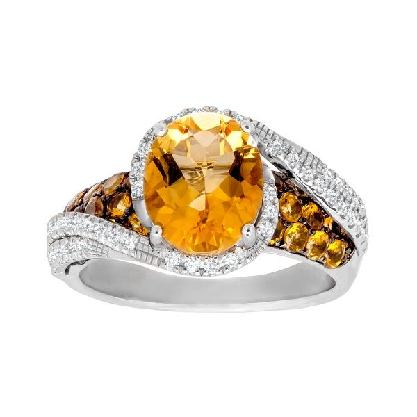 3 3/8 ct Citrine and White Topaz Ring in Sterling Silver - Yellow