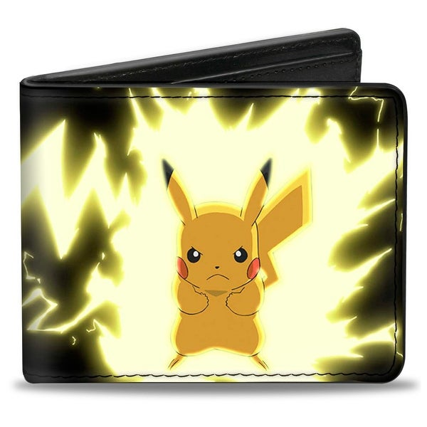 Pikachu Static Charge Pose + Pikachu! Black Yellows Bi Fold Wallet - One Size Fits most