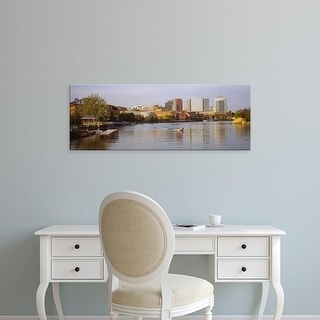 Easy Art Prints Panoramic Images's 'Boat in a river, Delaware River, Wilmington, Delaware, USA' Premium Canvas Art