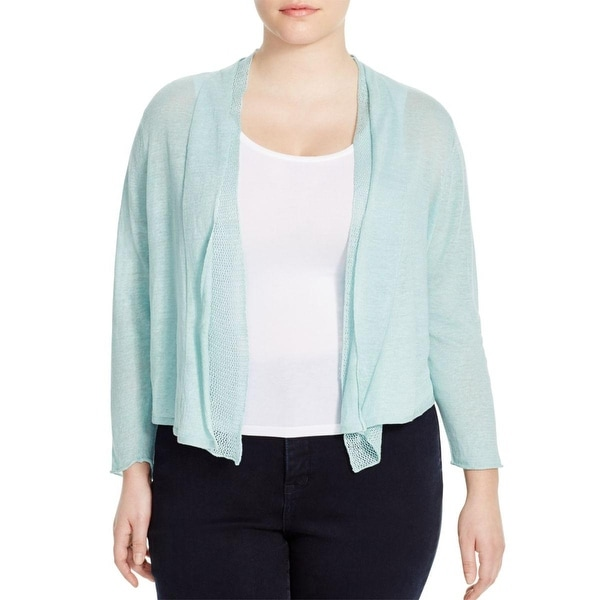 Nic + Zoe Womens Plus Cardigan Sweater Knit Crochet Trim