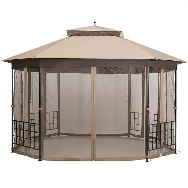 Costway 12/' x 9/' Pergola Kit Metal Frame Gazebo Canopy Cover Patio Shelter