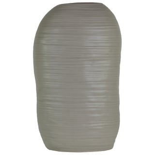 Ceramic Tall Irregular Vase With Combed Design, Large, Gray