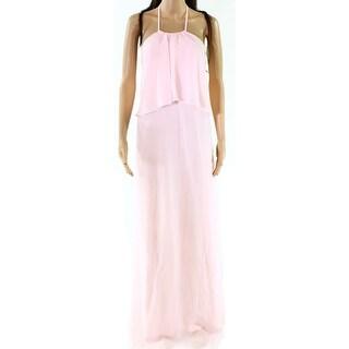 Nouvelle Blush Womens Medium Halter Chiffon Gown