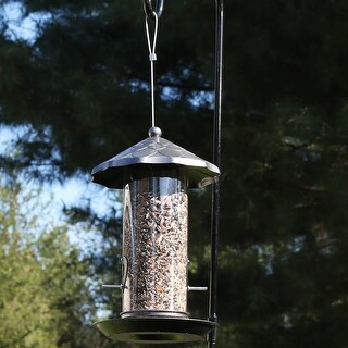 Sunnydaze Wild Bird Seed Feeder with Gray Finish - 13-Inch - Bronze
