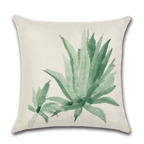 "Tropical leaves in watercolor print linen decorative pillow cover for couch or sofa 18"" x 18"""