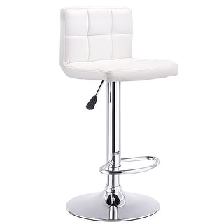Delicieux Costway 1 PC Bar Stool Swivel Adjustable PU Leather Barstools Bistro Pub Chair  White