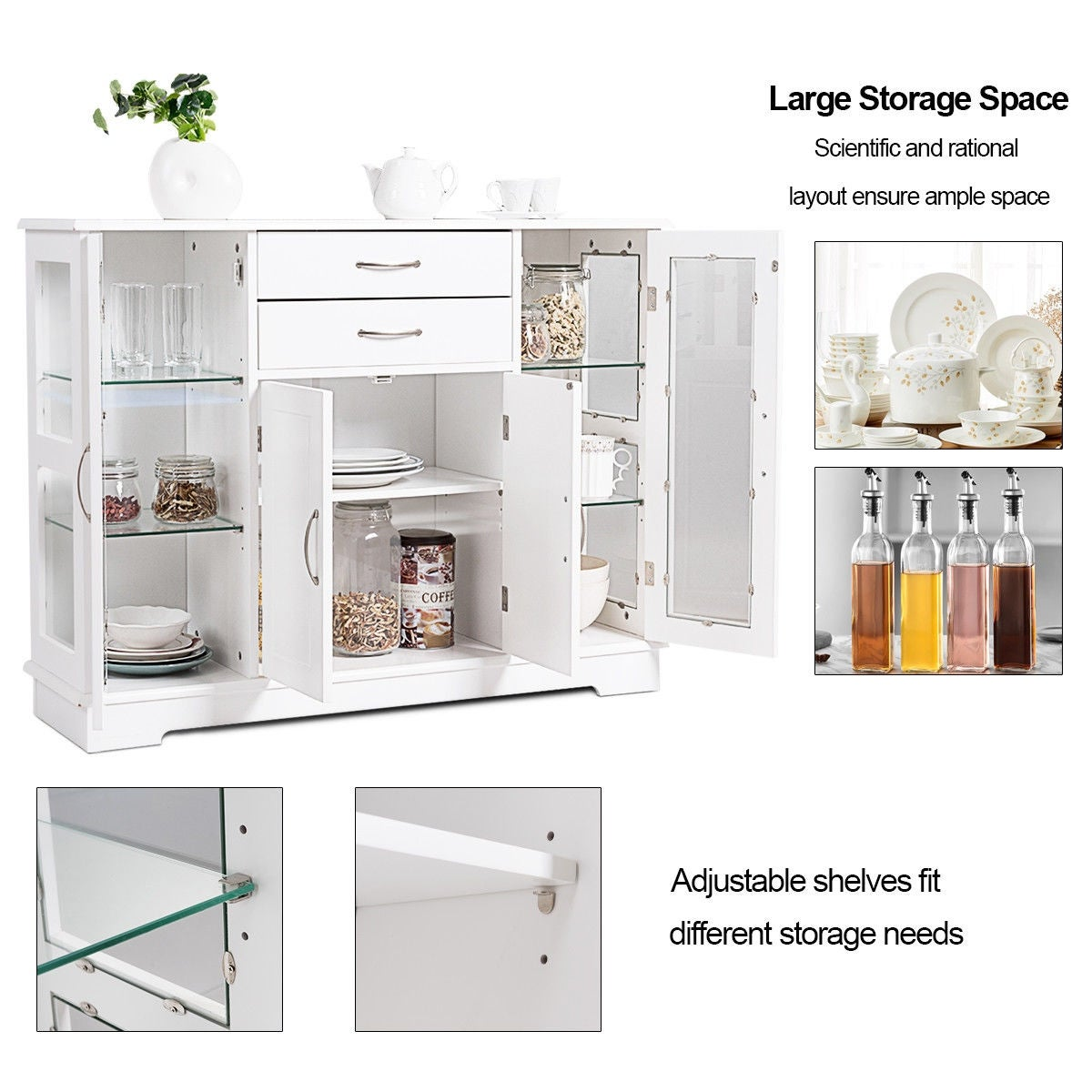 Costway Buffet Storage Cabinet Console Cupboard W Gl Door Drawers Kitchen Dining Room On Free Shipping Today 25656930