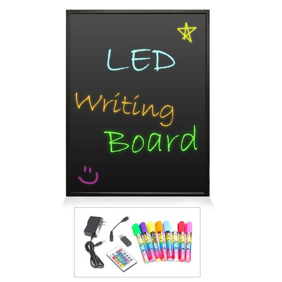 Erasable Illuminated LED Writing Board w/ Remote Control and 8 Fluorescent Markers, 32'' x 24''