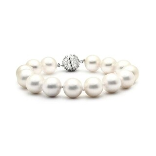 Bling Jewelry White Imitation Pearl Bridal Bracelet 10mm Rhodium Plated