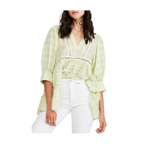 Free People Womens Time Out Lace Trim Tunic Blouse