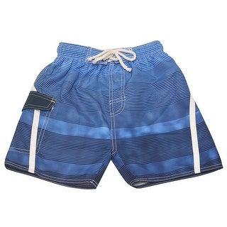 Quad Seven Boys Blue Ombre Striped Drawstring Tie Swim Trunks