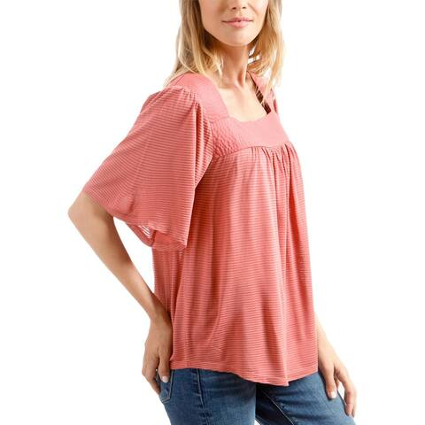 Lucky Brand Womens Peasant Top Shadow Stripe Bell Sleeve