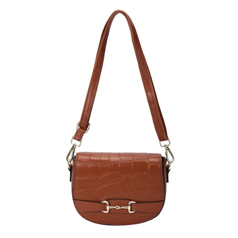 Navy Genuine Leather Crossbody Bag with Detachable Shoulder Strap - 7.87x2.76x5.12 inches