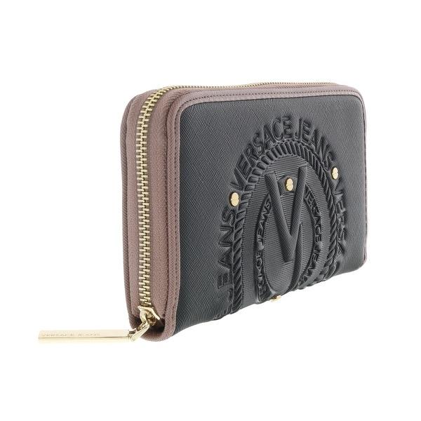 Versace EE3VQBPQ1 EMI6 Black and Mauve Sleek Wallet - 8- 4.5-1