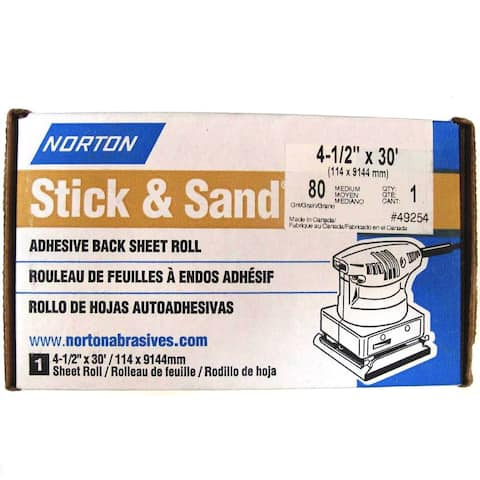 "Norton 49254 Stick & Sand Adhesive-Backed Sanding Roll, 80-Grit, 4-1/2"" x 30'"