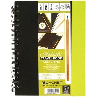 "Cachet Travel Sketch Book W/Pencil 7""X10""-40 Sheets"