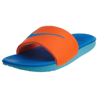 NIKE Boys' Kawa Slide Sandal (GS/PS), Total Orange/Photo Blue-gmm Blue-white