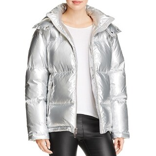 Kendall & Kylie Down Hooded Puffer Coat Jacket Silver