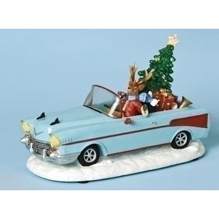 """11.75"""" Amusements Lighted and Musical Reindeer in Vintage Car Christmas Figure"""