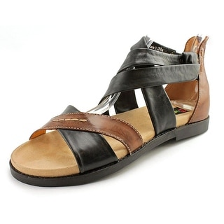Everybody By BZ Moda Vabbone Women Open-Toe Leather Black Fisherman Sandal