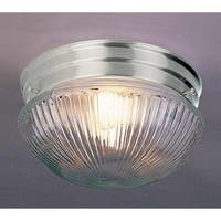 """Volume Lighting V7056 1-Light 7"""" Flush Mount Ceiling Fixture with Clear Ribbed Glass Shade"""