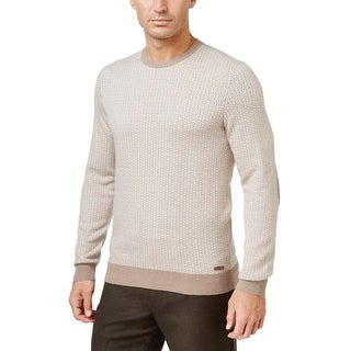 Tasso Elba Cotton and Cashmere Patterned Crewneck Sweater Pearl Taupe Medium M