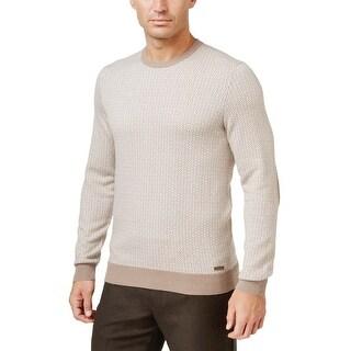 Tasso Elba Cotton & Cashmere Patterned Crewneck Sweater Pearl Taupe Medium M