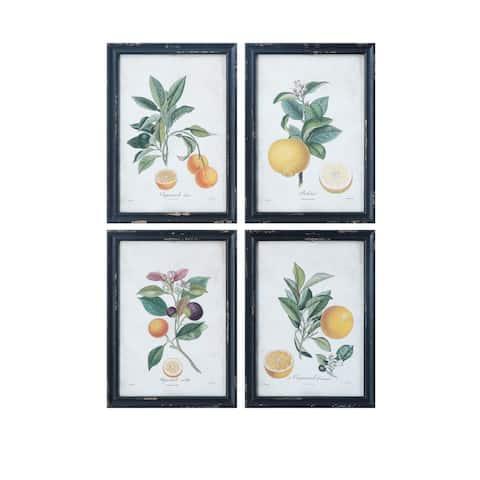 Orange Images Wood Framed Wall Decor (Set of 4 Designs)