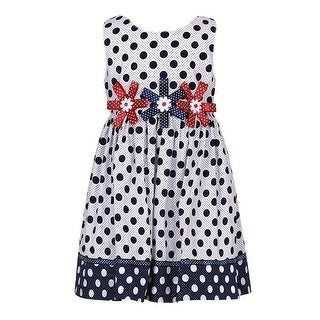 Richie House Girls Navy Polka Dot Print Floral Bows Attached Dress