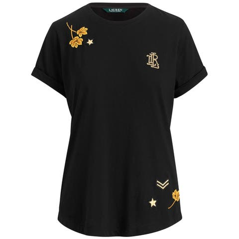 Ralph Lauren Womens Embroidered Logo Embellished T-Shirt