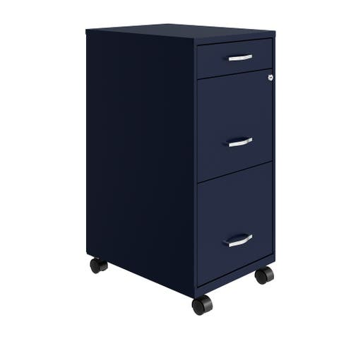 """Space Solutions 18"""" Deep 3 Drawer Mobile Metal File Cabinet, Navy"""