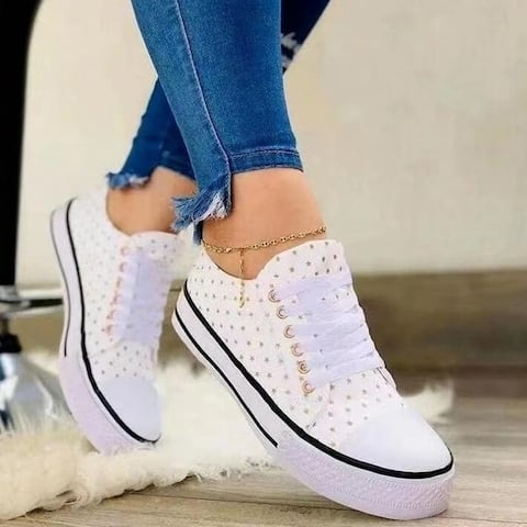 Lace Up Printed Canvas Sneakers