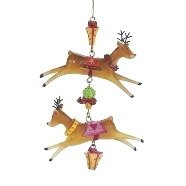 Set of 6 Double Reindeer Dangle Christmas Ornaments #23975 - brown