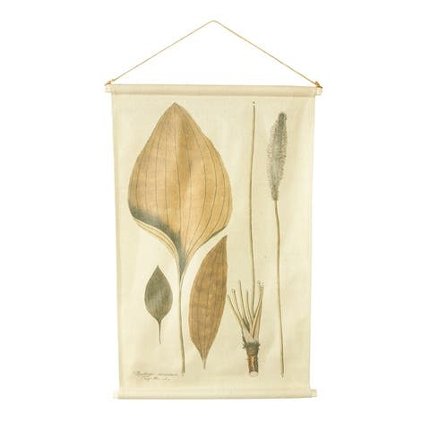 """35.25""""H Leaves Linen Wall Scroll with Wood Rods - Beige"""