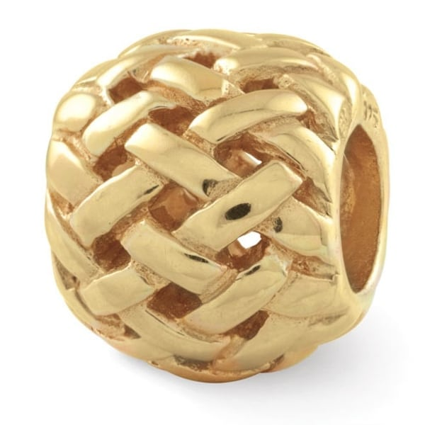 Sterling Silver Reflections Gold-plated Basketweave Bali Bead (4mm Diameter Hole)