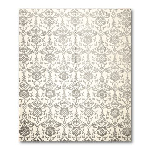 Hand Knotted Gray,Ivory Oriental Rug Wool Traditional Oriental Area Rug (8x10) - 8' x 10'