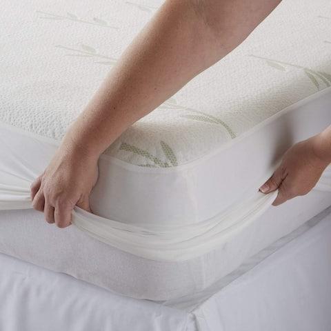 Great Bay Home Waterproof Bamboo Mattress Protector - White