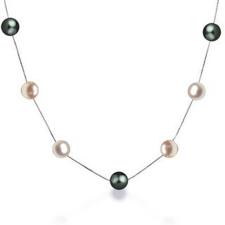 Bling Jewelry .925 Sterling Silver MultiColor Freshwater Cultured Pearl Tin Cup Necklace - Black