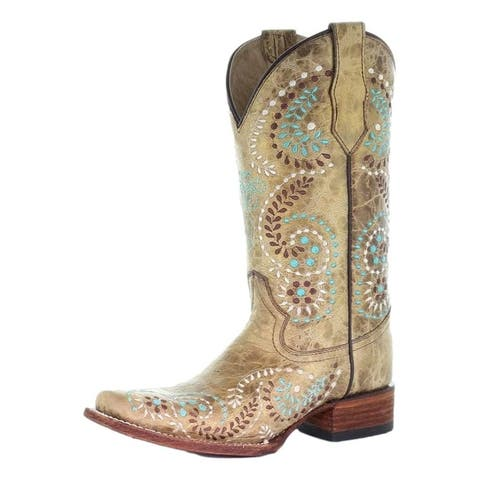 Circle G Western Boots Womens Square Toe Leather Pull On Gold