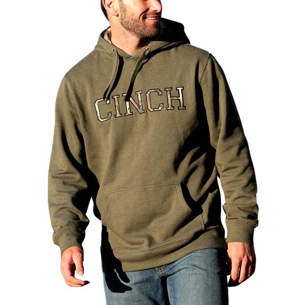 Cinch Western Sweatshirt Mens Outdoor Hoodie Fleece Olive MMK5023001
